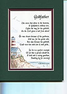 Godfather Touching 8x10 Poem, Double-matted in Dark Green Over Burgundy and Enhanced with Watercolor Graphics. A Gift For A Godfather.