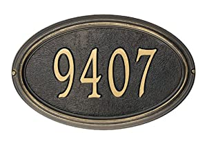 Whitehall Products Concord Oval Address Plaque - Standard Wall Plaque, Bronze and Gold Letters - OG