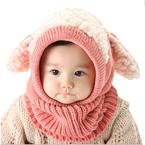 Baby-Hat-Yoyorule-Kids-Winter-Warm-Woolen-Coif-Hood-Scarf-Caps-Hats-Pink