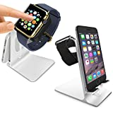 Orzly® - DuoStand Charge Station for Apple Watch & iPhone - Aluminum Desk Stand Cradle in SILVER with Built-In Insert Slots for both Grommet Wireless Charger and Lightning Cable for use as a fully functional Charging Dock for both your Apple Watch & iPhone Simultaneously - Fits iPhone Models: 5 / 5S / 5C / 6 / 6 PLUS and both 42mm & 38mm sizes of 2015 Watch Models (Original BASIC Model / SPORT Version / and EDITION Models)
