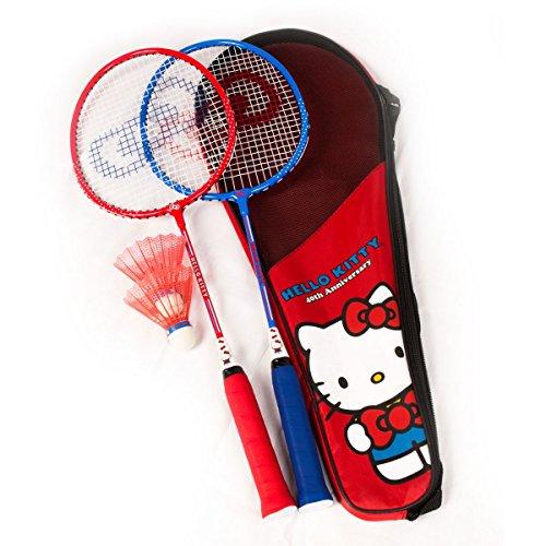 Hello Kitty Sports 40th Anniversary Jr Badminton Racquet Set (2-Piece), Red/Blue/White