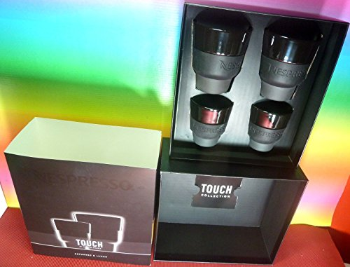 Nespresso 2 Touch Espresso Cups (80 ml) & 2 Touch Lungo Cups (170 ml) Black Porcelain & Soft-Touch Silicone , In Brand Box ,By Berlin Design studio Geckeler Michels,New (Nespresso Cups Lungo compare prices)