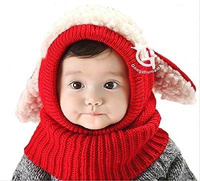 【On Dolce】選べる5色 うさぎちゃん風 ニット帽 ニット帽子 ベビー キッズ 赤ちゃん 子 子供 用 かわいい 防寒 BN005 (レッド)