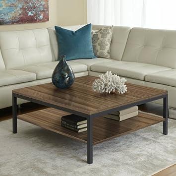 1-Shelf Square Coffee Table in Walnut Finish