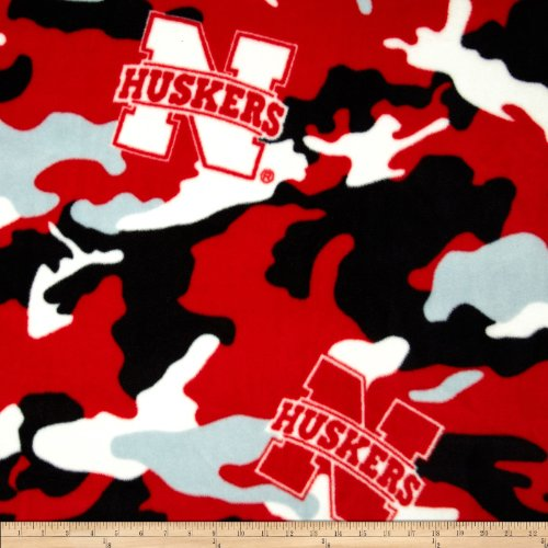 University of Nebraska Fleece Camo Red Fabric