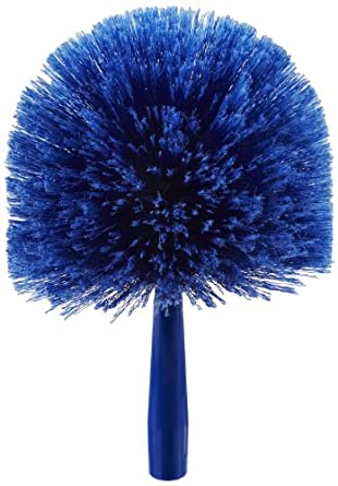 """Carlisle 36340414 Flo-Pac Round Duster, Soft Flagged PVC Bristles, 7"""" Overall Diameter x 9"""" Overall Length, 2-1/2"""" Bristle Trim, Blue (Case of 12)"""