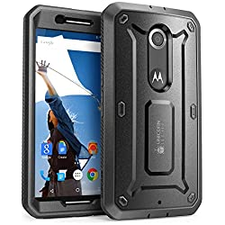 Nexus 6 Case, SUPCASE [Heavy Duty] Belt Clip Holster Case for Google Nexus 6 (2014 Release) [Unicorn Beetle PRO Series] Full-body Rugged Hybrid Protective Cover with Built-in Screen Protector (Black/Black), Dual Layer Design + Impact Resistant Bumper, Fit Motorola Nexus 6