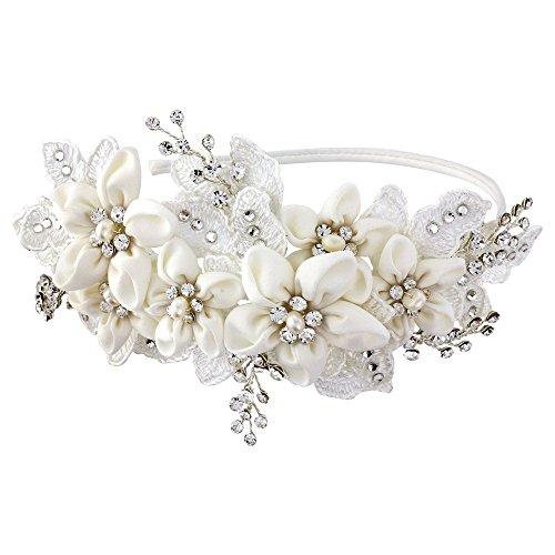 Fascia da sposa, con cristalli swarovski trasparenti fiori in tessuto e finte perle Bridal Wedding