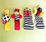 Lamaze Garden Bug Wrist Rattle / Foot Finder Set of 4 (2 Wrist 2 Footies)