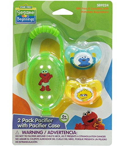 "Sesame Street ""Trio of Characters"" 2-Pack Pacifiers with Case - green, one size"