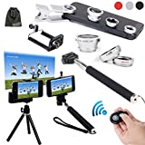 EEEKit 6in1 Kit for iPhone 6/iPhone 6 Plus iPhone 5S/5C/5/4S Samsung Galaxy S5/S4/S3 Samsung Galaxy Note 4/3/2 LG G3/G2 HTC One M8/M7 Google Nexus 4/5 Sony Xperia Z1/Z2 Motorala Moto X/G Cell Phone,Extendable Handheld Monopod for Compact Camera + Adjustable Smartphone Adapter Phone Holder + Retractable Rotating Tripod Stand Mount Holder+ WirelessBluetooth Remote Camera Shutter Release Control + Fish Eye Lens + Wide Angle Lens + Macro Lens + EEEKit Pouch (White)