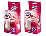 Pure Air Branded Set of 2 Plug in Air Fresheners, Choose from 4 Fragrances: Lavender, Rose, Apple or Wild Meadow (Rose)