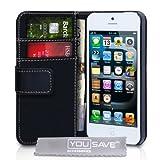 Custodia Apple Iphone 5 Cover Iphone 5 Pu Cuoio Portafoglio Nero Con Schermo Pellicola Protezionedi Yousave Accessories�