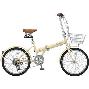 HIATE(ハイエイト) 20インチシマノ6段変速折りたたみ自転車 アイボリー