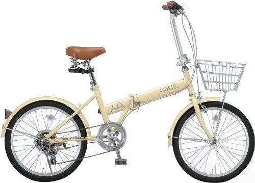 HIATE(ハイエイト) 20インチシマノ6段変速折りたたみ自転車[カゴ/LEDライト/コイルワイヤー錠/前後フェンダー標準装備] アイボリー HI-206