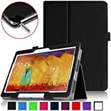 Fintie Samsung Galaxy Note 10.1 2014 Edition Folio Case - Slim Fit Book Style Leather Stand Cover BLACK (With Smart Cover Auto Wake / Sleep)