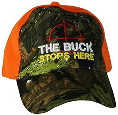 Mens Hunting Hat Baseball Cap with Deer in Sights THE BUCK STOPS HERE