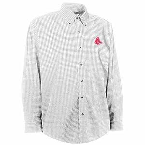 Boston Red Sox Esteem Button Down Dress Shirt (White) by Antigua