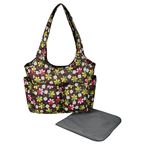 ECOSUSI Diaper Bag Multicolor Floral Design Nappy Bag
