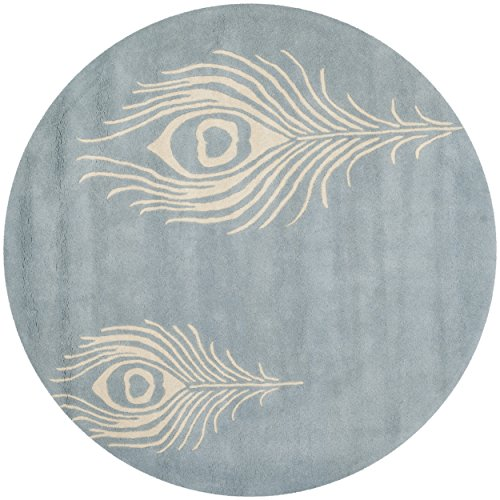 Safavieh Soho Collection SOH704B Handmade Light Blue and Ivory New Zealand Wool & Viscose Round Area Rug, 4 feet in Diameter (4