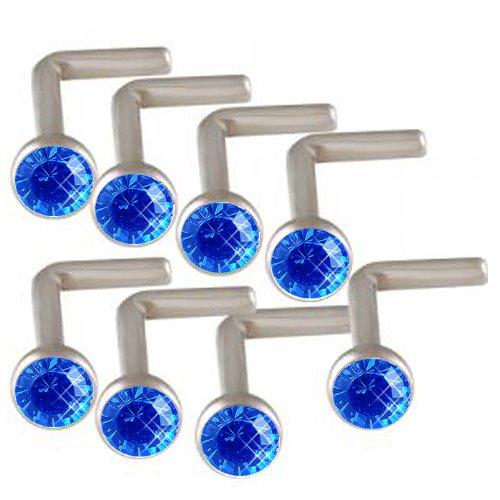 18g 18 gauge 1mm Sapphire Crystals Steel nose ring stud screw bone bar ACHJ Body Piercing Jewellery 8Pcs