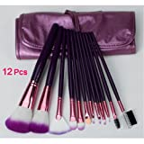 SODIAL(R) 12pcs Professional Cosmetic Makeup Make up Brush Brushes Set With Purple Bag Case
