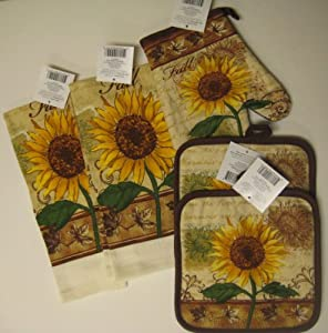 fall sunflower kitchen towel set with pot