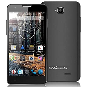 Swees® 5.0 inch IPS Screen Quad Core Unlocked 3G Smartphone Android 4.2, MTK6582, 4GB ROM, 1 GB RAM, Dual SIM Dual Standby SIM - Free 3G android mobile phone, 1.3GHZ WIFI GPS Bluetooth, 8.0MP+2.0MP Camera, Ebook Gmail + Original Flip Cover Case (Black)