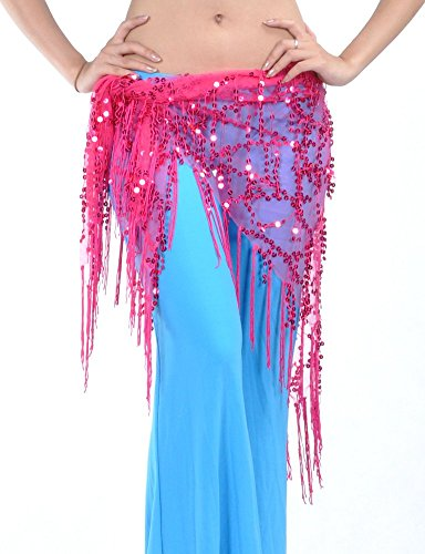DQdq Women's Sequined Tassel Belly Dance Hip Wrap Rose Pink (Pink Indian Sari Adult Costume)