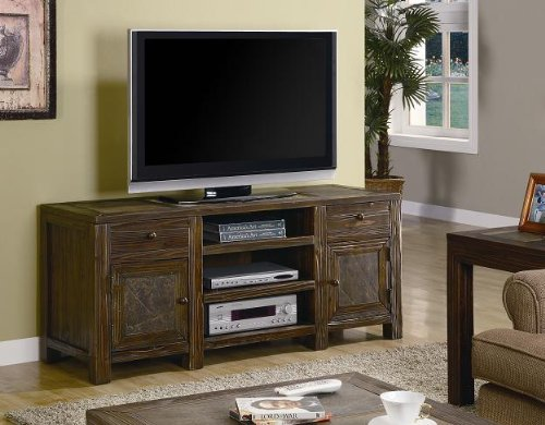 Inland Empire Furniture Mariposa Brown Oak Distressed Solid Wood Flat Panel TV Stand