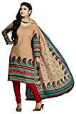 Shaily Retails Women's Beige Cotton Printed Unstitched Dress Material