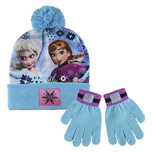 Disney Frozen - Set 2pz Inverno Cappello e Guanti - Bambina invernale Anna Elsa