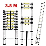 Finether 3.8M Portable Aluminum Telescoping Ladder with Finger Protection Spacers for Home Loft Office, EN131 Certified, 330 Lb Capacity