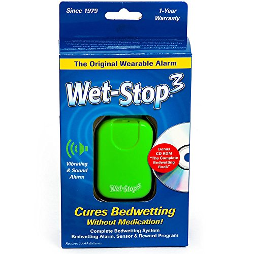 Wet-Stop3 Green Bedwetting Enuresis Alarm with Sound and Vibration, Comes in 3 Color Options, Curing Bedwetting For Over 35 Years (Bed Sensor Alarm compare prices)