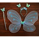Infinxt Fairy Butterfly Wings Costume For Baby Girl Angel Birthday Party Sky Blue