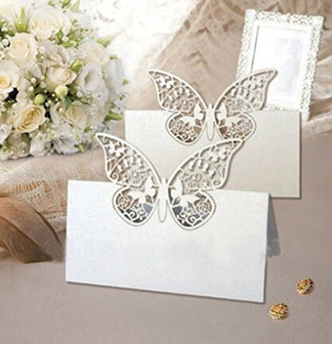 Vanki Pack of 48 Laser Cut Butterfly Vine Wedding Table Number Name Place Card Wedding Party Decoration Favor