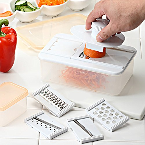 Excellent Doer Mandoline Slicer - Multifunction Cheese Grater, Vegetable Julienne, Cutter Set with Plastic Food Storage Containers - LIFETIME GUARAN