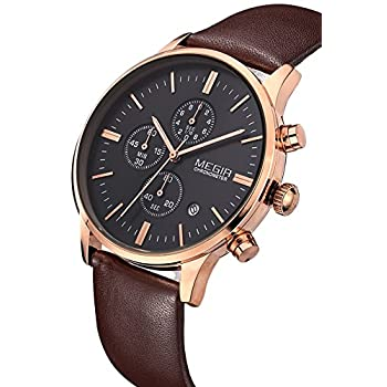 Megir Mens Vintage Chronograph Luminous Brown Leather Quartz Wrist Watches