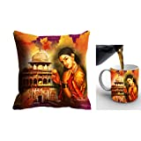 MeSleep Digitally Printed Micro Fabric Cushion Cover And Ceramic Mug With Artificial Rose - Red (cdm-05-0005)