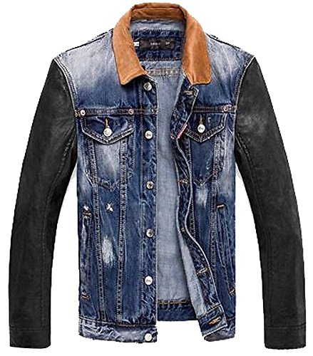Mens Retro Pu Leather Sleeves Denim VINTAGE Trendy Hooded Jean Jacket Coat Blue