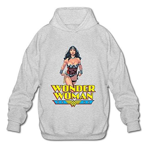 [AOPO Wonder Woman Diana Prince Men's Long Sleeve Hooded Sweatshirt / Hoodie Large Ash] (Book Week Costume Ideas To Make)