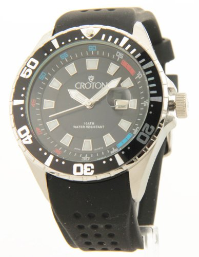 Mens Croton Sporty Black Rubber Band Date 10Atm Watch Ca301245bsbk