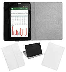 ACM LEATHER FLIP FLAP TABLET HOLDER CARRY CASE STAND COVER FOR IBERRY AUXUS AX04I WHITE