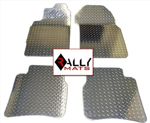 Rallymats 08-11 Dodge Challenger Diamond Plate Aluminum Metal Floor Mats 2Pc Set