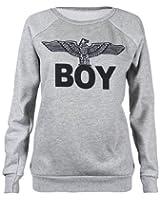 Fast Fashion - Sweatshirt Boy Aigle Armée Impression - Femme (EUR (36-38), Gris)