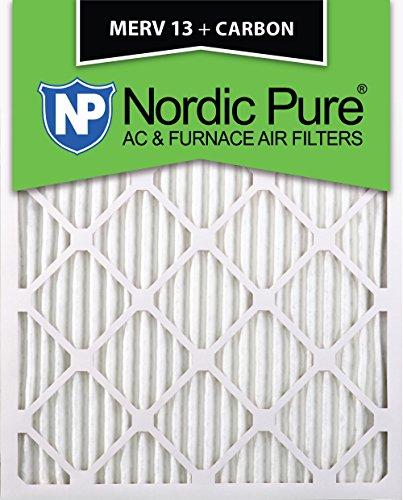 Nordic Pure 16x25x1M13+C-6 MERV 13 Plus Carbon AC Furnace Air Filters, Qty-6