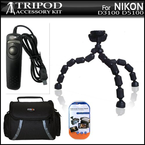 Tripod Bundle Kit For Nikon D3100 D5100 Digital SLR Camera Includes Flexible Gripster + Remote Shutter Release + Deluxe Carrying Case + 3 Pack LCD Screen Protectors