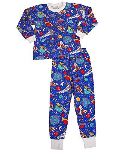 Sara'S Prints - Little Boys Long Sleeve Universe Pajamas, Blue 35239-5