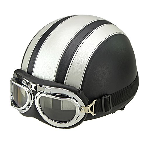 [Half Helmet for Motorcycle Scooter Biker with Visor UV Goggles Glasses Scarf Fits Men Women] (Deluxe Smoke Mask)