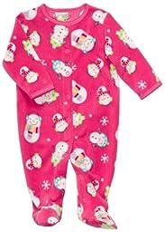 Carter\'s Micro Fleece Snap - Pink Snowman-6M